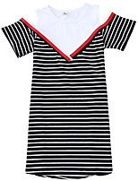 cheap -Kids Girls' Striped Short Sleeve Dress
