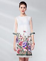 baratos -Mulheres Reto Vestido Sólido / Floral Acima do Joelho