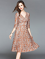 cheap -SHIHUATANG Women's Vintage / Sophisticated A Line Dress - Paisley Lace
