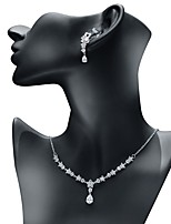 cheap -Women's Cubic Zirconia Jewelry Set - Drop, Flower Sweet, Fashion Include Drop Earrings / Pendant Necklace White For Wedding / Evening Party