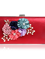 cheap -Women's Bags Pearl / Polyester Evening Bag Crystals / Pearls / Flower for Wedding / Event / Party Black / Silver / Red