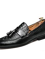 Недорогие -Муж. обувь Наппа Leather Весна Осень Удобная обувь Мокасины и Свитер для Повседневные Для вечеринки / ужина Черный Винный