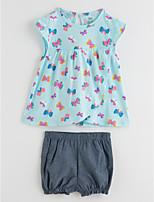 Недорогие -Дети (1-4 лет) Девочки Однотонный Цветочный принт Без рукавов Набор одежды