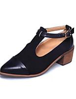 Недорогие -Жен. Обувь Полиуретан Наступила зима Удобная обувь Ботинки На толстом каблуке Ботинки Черный / Темно-русый
