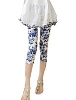 baratos -Mulheres Diário / Para Noite Básico Legging - Floral Cintura Média