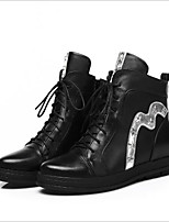 baratos -Mulheres Sapatos Couro Inverno Conforto Botas Sem Salto para Branco Preto