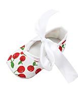 Недорогие -Девочки Обувь Ткань Осень Удобная обувь / Обувь для малышей / Пинетки На плокой подошве Бант для Дети / Ребёнок до года Белый / Свадьба