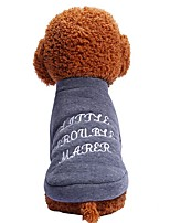 cheap -Dogs Cats Pets Shirt / T-Shirt Dog Clothes Simple Embroidered Quotes & Sayings Gray Cotton / Polyester Costume For Pets Female Casual /