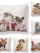 cheap -6 pcs Textile / Cotton / Linen Pillow case, Dog / Fashion / Printing Modern Style / Square Shaped