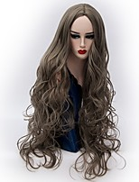 cheap -Synthetic Wig Wavy Middle Part Synthetic Hair Hot Sale Gray Wig Women's Very Long Machine Made / Yes