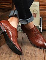 Недорогие -Муж. обувь Кожа Лето Удобная обувь Мокасины и Свитер Черный Коричневый