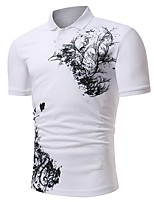 cheap -Men's Basic Polo - Solid Colored / Floral Black & White, Print