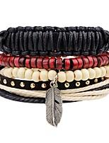 Недорогие -Многослойность / стек Кожаные браслеты - Мода, Многослойный Браслеты Черный Назначение Официальные / Для улицы