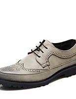 Недорогие -Муж. обувь Кожа Весна Удобная обувь Туфли на шнуровке Черный / Синий / Хаки