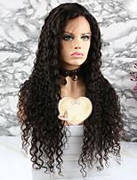 Недорогие -Remy Парик Бразильские волосы Кудрявый Стрижка каскад 130% плотность С детскими волосами Нейтральный Короткие / Длинные / Средняя длина