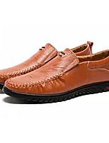 Недорогие -Муж. обувь Кожа Наппа Leather Весна Осень Мокасины Удобная обувь Мокасины и Свитер для Повседневные Черный Темно-русый Темно-коричневый