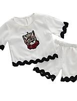 preiswerte -Kinder Baby Mädchen Druck Kurzarm Kleidungs Set