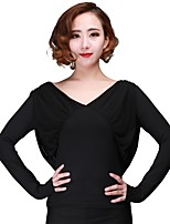 cheap -Latin Dance Tops Women's Training Milk Fiber Ruching Long Sleeve Top