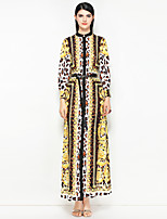cheap -MARY YAN&YU Women's Vintage Street chic A Line Dress - Floral Leopard