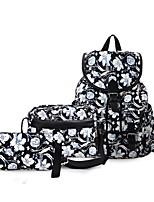 preiswerte -Damen Taschen Segeltuch / Kunstleder Bag Set 3 Stück Geldbörse Set Knöpfe / Geprägt für Einkauf Schwarz / Black Grey