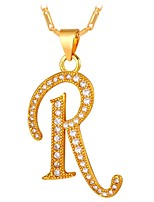 cheap -Men's Cubic Zirconia Pendant Necklace  -  Letter Fashion Gold, Silver 55 cm Necklace For Gift, Daily