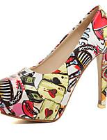 abordables -Femme Chaussures Cuir Nappa / Polyuréthane Eté Confort Chaussures à Talons Talon Aiguille Bout rond Jaune / Rouge / Vert