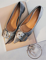 baratos -Mulheres Sapatos Courino Primavera Conforto Saltos Salto Robusto Dedo Apontado Preto / Cinzento