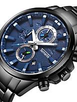 abordables -Homme Quartz Montre de Sport Calendrier Chronographe Grand Cadran Montre Décontractée Chronomètre Acier Inoxydable Bande Luxe Cool Noir