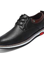 baratos -Homens sapatos Pele Napa Couro Outono Conforto Oxfords para Escritório e Carreira Preto Castanho Claro Castanho Escuro