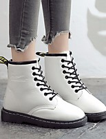 Недорогие -Жен. Обувь Полиуретан Наступила зима Армейские ботинки Ботинки На плоской подошве Круглый носок Ботинки Белый / Черный / Красный
