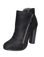 cheap -Women's Shoes Fabric Fall / Winter Bootie Boots Chunky Heel Round Toe Booties / Ankle Boots for Casual / Party & Evening Black / Gray /