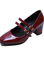 cheap -Women's Shoes PU(Polyurethane) Spring Comfort / Basic Pump Heels Chunky Heel Black / Almond / Burgundy