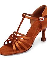 baratos -Mulheres Sapatos de Dança Latina Seda Salto Salto Alto Magro Sapatos de Dança Dourado / Espetáculo / Couro / Ensaio / Prática