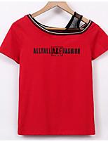 abordables -Tee-shirt Femme, Lettre Basique Une Epaule
