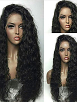 cheap -Remy Human Hair Wig Brazilian Hair / Water Wave Wavy 130% Density With Baby Hair / With Bleached Knots / Unprocessed Short / Long / Mid