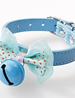 abordables -Chiens / Chats / Animaux de Compagnie Colliers Ajustable / Réglable / Nœud / Manches Pagode Couleur Pleine / Points Polka faux cuir Bleu