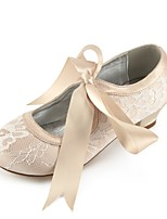 cheap -Girls' Shoes Lace Spring Tiny Heels for Teens Flower Girl Shoes Ankle Strap Ballerina Comfort Heels Bowknot Buckle Split Joint Flower