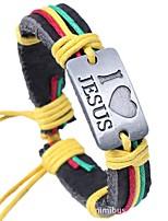 Недорогие -Муж. Кожаные браслеты - Кожа Сердце Этнический, Мода Браслеты Кофейный / Цвет радуги Назначение Повседневные / Официальные