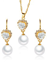 cheap -Women's Cubic Zirconia Jewelry Set - Pearl Flower Classic, Vintage, Elegant Include Drop Earrings / Choker Necklace / Bridal Jewelry Sets White For Wedding / Party / Engagement