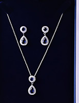 cheap -Women's Cubic Zirconia Jewelry Set - Drop Fashion, Elegant Include Drop Earrings / Pendant Necklace Dark Blue For Wedding / Evening Party