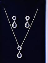 preiswerte -Damen Kubikzirkonia Schmuck-Set - Tropfen Modisch, Elegant Einschließen Tropfen-Ohrringe / Anhängerketten Dunkelblau Für Hochzeit / Party