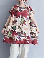 cheap -Women's Cotton Loose T-shirt - Floral