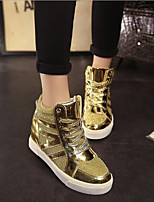 cheap -Women's Shoes PU Spring Fall Comfort Boots Flat Heel for Gold Black Silver