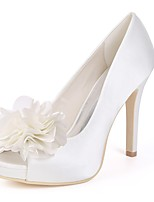 cheap -Women's Shoes Satin Spring Basic Pump Wedding Shoes Stiletto Heel Peep Toe for Wedding Party & Evening White Ivory