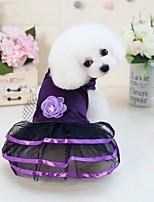 baratos -Cachorros / Gatos / Animais Pequenos Peludos Vestidos Roupas para Cães Sólido / Flor / Laço Azul Escuro / Roxo Combinação Poliéster /