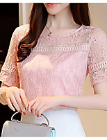 cheap -Women's Daily / Holiday Basic Blouse - Solid Colored Lace / Patchwork / Summer