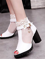 cheap -Women's Shoes Tulle / PU(Polyurethane) Spring & Summer Basic Pump Heels Chunky Heel Peep Toe White / Black