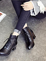 cheap -Women's Shoes Nappa Leather Leather Spring Fall Comfort Boots Chunky Heel for Black