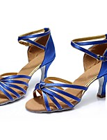 cheap -Women's Latin Shoes Satin Sandal / Heel Splicing Customized Heel Customizable Dance Shoes Blue / Indoor