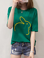 cheap -Women's Basic T-shirt - Solid Colored / Animal Embroidered